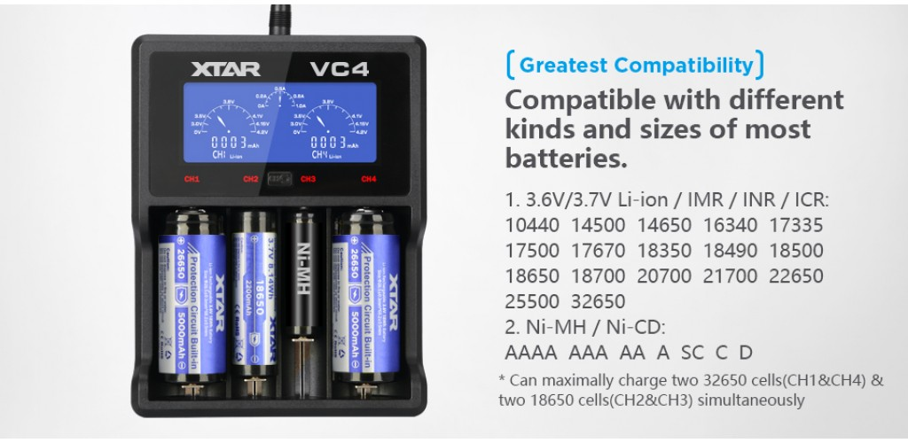 Xtar VC4 USB Li-Ion Ni-MH Battery Charger 14500 16340 18650 26650 32650 AAA